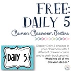 FREE Daily 5 Posters with Chevron Background