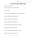 """The Gift of the Magi"" by O Henry Quiz"
