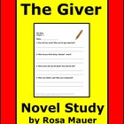 The Giver Reading Comprehension Printables Worksheets Book Unit