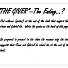 """The Giver"" Small/Whole Group Discussion of Ending"