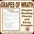 The Grapes of Wrath Chapter Essay Prompts and Reading Quizzes