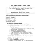 The Great Gatsby essay test over relationships in the novel