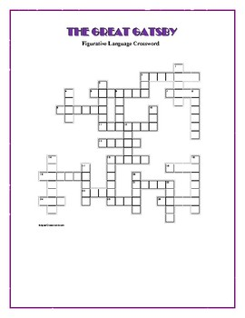 The Great Gatsby: Figurative Language Crossword--Creative!
