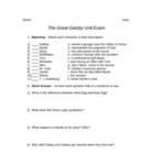 The Great Gatsby Unit Exam