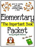 """""""The Important Book"""" Activity Packet (For Elementary)"""
