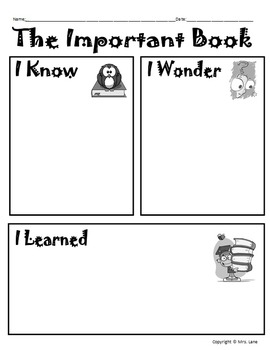 """The Important Book"" Activity Packet (For Elementary)"