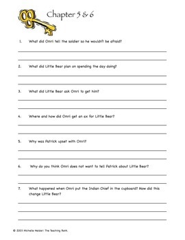 The Indian in the Cupboard Comprehension Question Packet