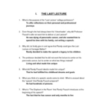 The Last Lecture Study Guide 50 Questions with Answers