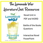 """The Lemonade War"", by J. Davies, ENTIRE UNIT of RESOURCES on CD"
