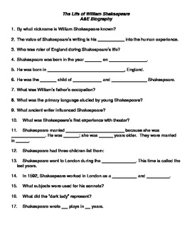 The Life of William Shakespeare Handout for the A&E Biogra