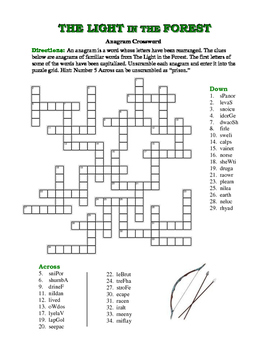 The Light in the Forest: Anagram Crossword--Challenging & Fun!