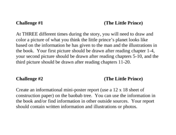 """The Little Prince"", by A. de Saint Exupery, Project Challenges"