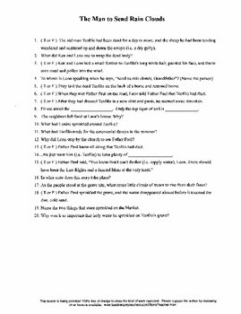 The Man to Send Rain Clouds by Leslie Silko Worksheet Cros