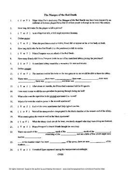 The Masque of the Red Death Poe Reading Worksheet Crosswor
