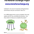 The  Monster Exchange Project Writing Sheets