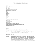 The Outlandish Miss Green (play, script)