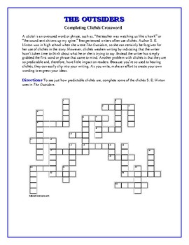 The Outsiders: Completing Cliches Crossword
