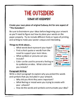 """The Outsiders"" - Subway Art Project / Writing Prompt"