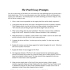 The Pearl In Class Essay Assignment- with prompts, rubric,