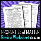 The Properties of Matter - Review Worksheet