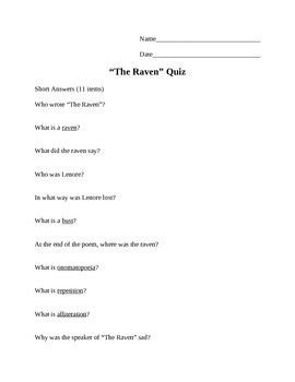"""The Raven"" by Edgar Allan Poe Quiz"