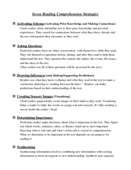 The Seven Reading Comprehension Strategies