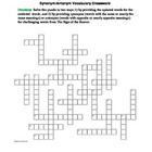 The Sign of the Beaver: Synonym/Antonym Crossword--Use wit