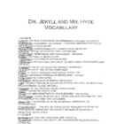 The Strange Case of Dr. Jekyll and Mr. Hyde Vocabulary List