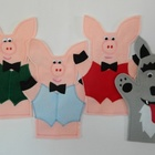 The Three Little Pigs and the Big Bad Wolf Felt Hand Puppet Set