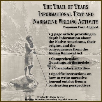 The Trail of Tears Informational Text and Narrative Writing Activity