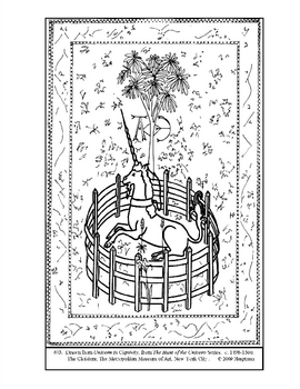 The Unicorn in Captivity.   Coloring page and lesson plan ideas
