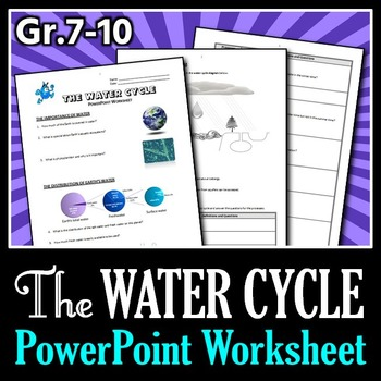 The Water Cycle - PowerPoint Worksheet {Editable}