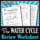 The Water Cycle - Review Worksheet