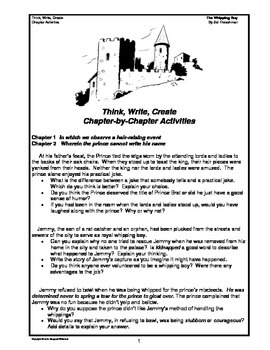 The Whipping Boy  Think,Write,Create Prompts/Graphic Organizers