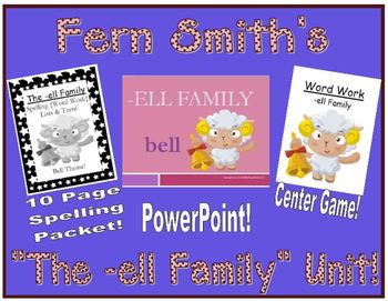 The -ell Word Family Packet - PowerPoint, Center Game and
