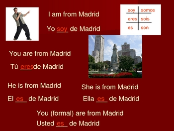 The verb Ser Spanish Class PowerPoint Expresate 1.2
