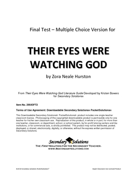 Their Eyes Were Watching God Multiple Choice Test