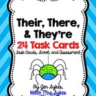 Their There and They're Homophones Grammar Task Cards, Sco