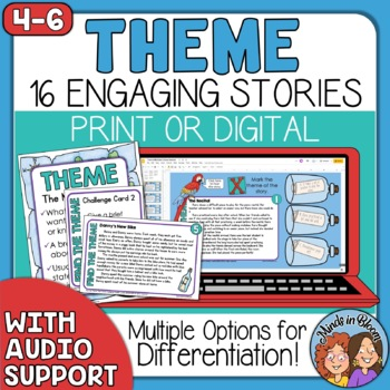 Theme Task Cards: Story Cards for CCSS.ELA-Literacy.RL.2