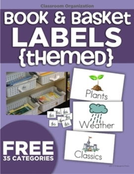 Themed Book Labels and Book Basket Labels