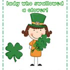 There was an Old Lady who Swallowed a Clover! Freebie
