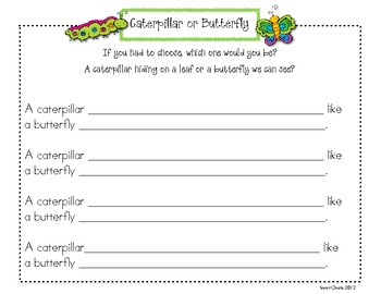 Thinking about Butterflies: Analogy Chart FREEBIE!