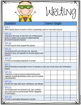 Third Grade Common Core Checklist