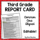 Third Grade Common Core Report Card- Editable - Fits on on
