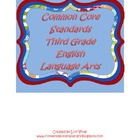 Third Grade Common Core Standards ELA Checklist