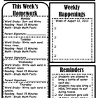 Third Grade Gazette-Weekly Newsletter and Homework Sheet