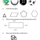 Third-Grade Geometry Pre-Assessment or Quiz VA SOL 3.14, 3