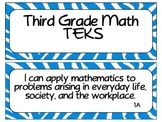 Third Grade Newly Revised Math TEKS Cards