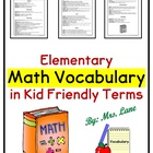 Third Grade Math Vocabulary in Kid-Friendly Terms