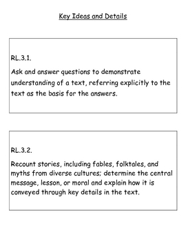 Third Grade Reading Literature Common Core Standards